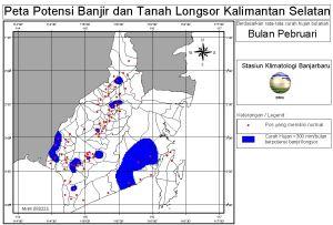 peta potensi rawan banjir dan tanah longsor bulan Pebruari