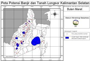 peta potensi rawan banjir dan tanah longsor bulan Maret