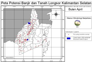 peta potensi rawan banjir dan tanah longsor bulan April