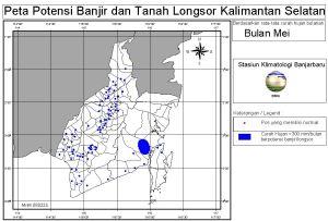 peta potensi rawan banjir dan tanah longsor bulan Mei