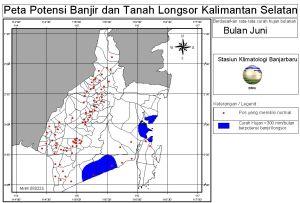 peta potensi rawan banjir dan tanah longsor bulan Juni