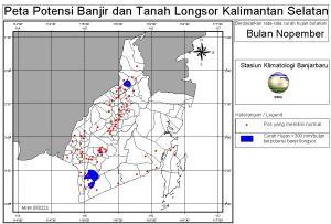 peta potensi rawan banjir dan tanah longsor bulan Nopember