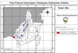 peta potensi rawan kebakaran dan kekeringan bulan Mei