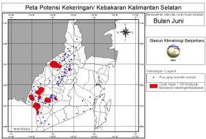 peta potensi rawan kebakaran dan kekeringan bulan Juni
