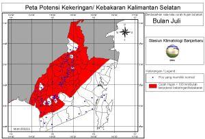 peta potensi rawan kebakaran dan kekeringan bulan Juli