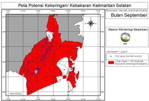 peta potensi rawan kebakaran dan kekeringan bulan September