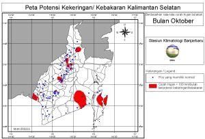 peta potensi rawan kebakaran dan kekeringan bulan Oktober di Kalimantan Selatan